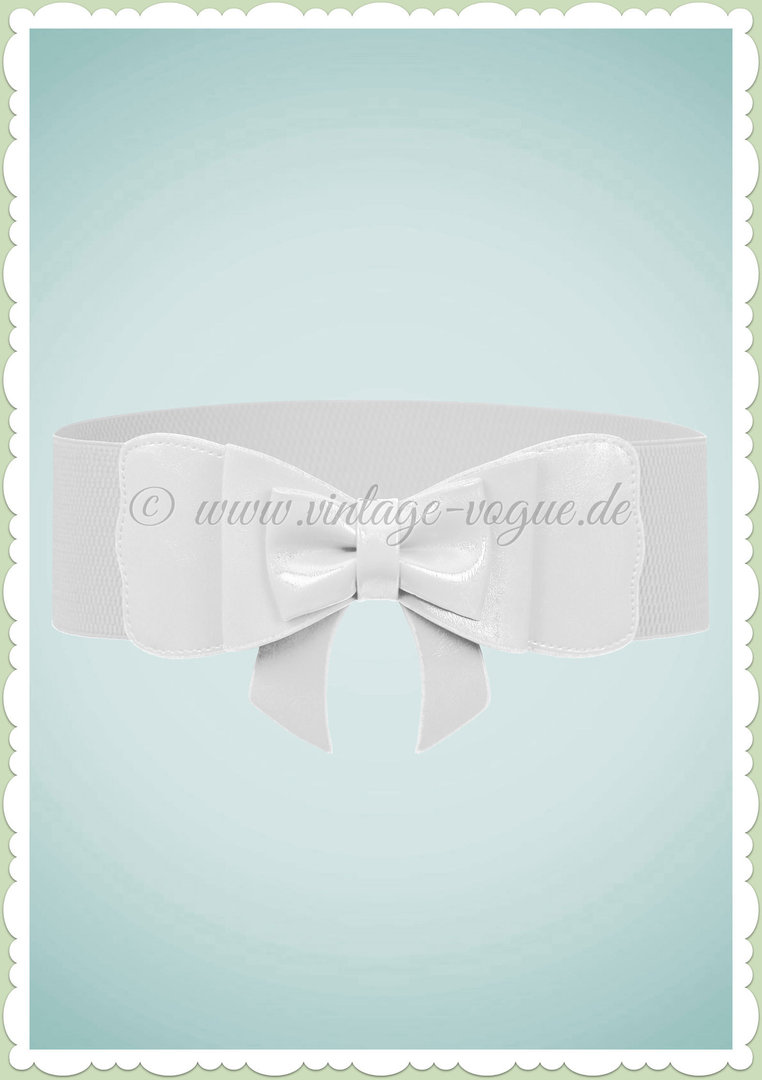 Banned 50er Jahre Vintage Pin Up Schleife Taillen Stretch Gürtel Weiß