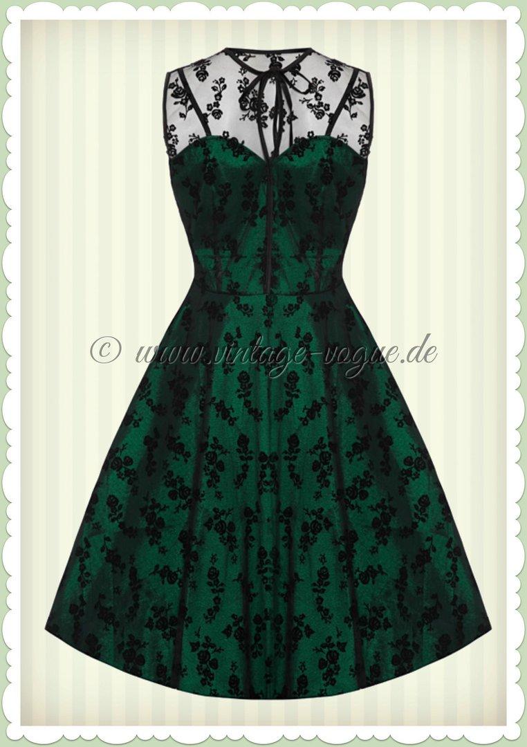 Voodoo Vixen 40er Jahre Vintage Peacock Swing Kleid - Emerald - Grün