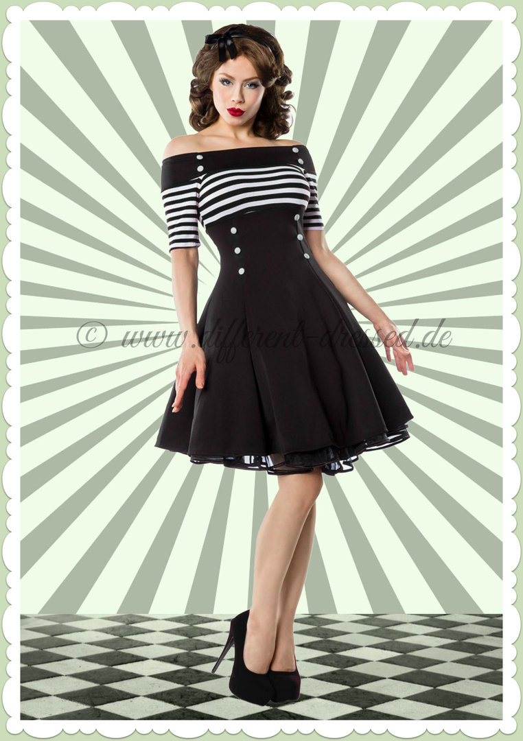 belsira 50er jahre rockabilly petticoat kleid stripes schwarz wei. Black Bedroom Furniture Sets. Home Design Ideas