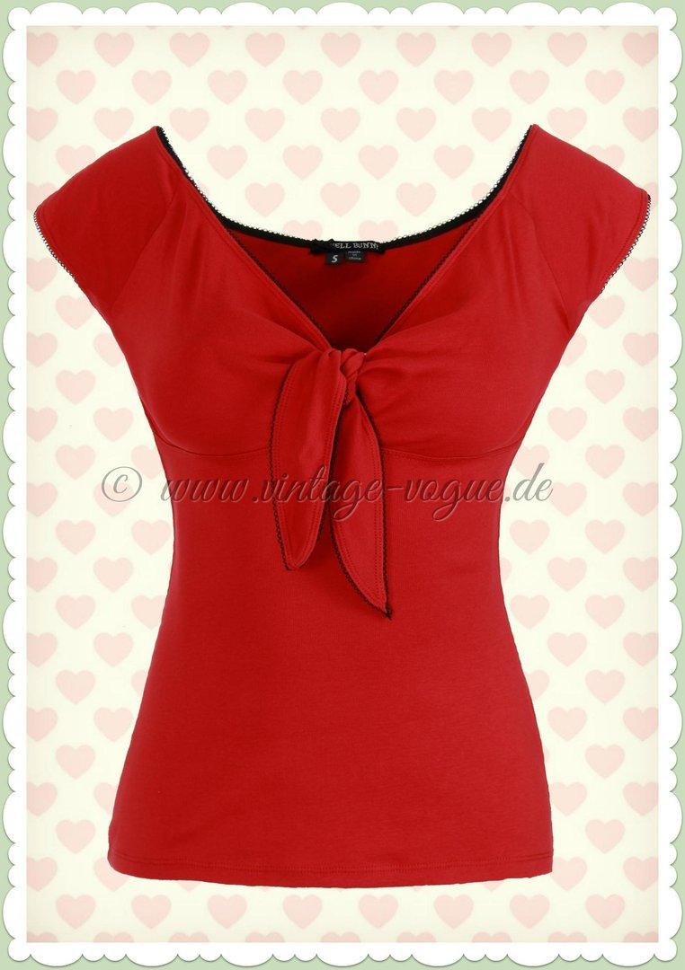 51968de05978 Hell Bunny 40er Jahre PinUp Retro Schleife Shirt Top - Bardot - Rot