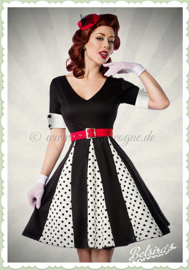 387bec57a486 Belsira 50er Jahre Retro Petticoat Punkte Kleid - Godet - Weiß Schwarz