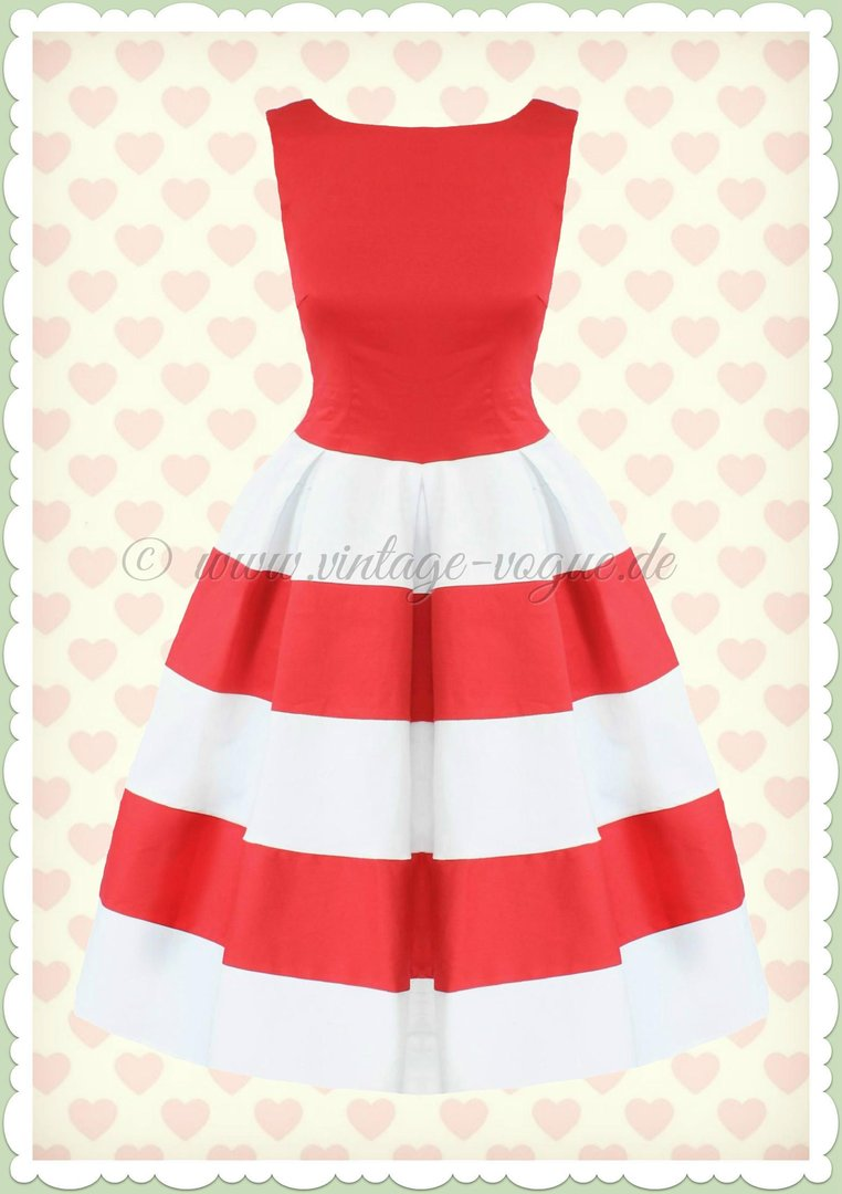 size 40 cd429 3881f Dolly & Dotty 50er Jahre Retro Streifen Petticoat Kleid - Anna - Rot Weiß