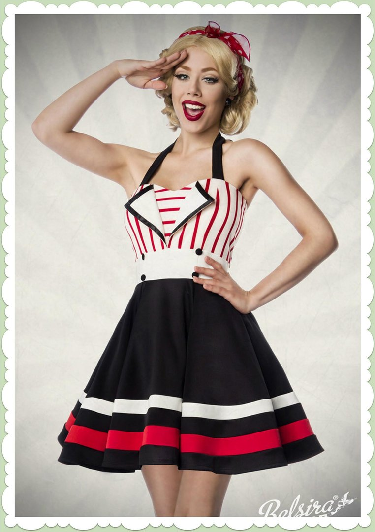 4a61958e42ee99 Belsira 50er Jahre Rockabilly Petticoat Kleid - Layla - Schwarz Weiß Rot
