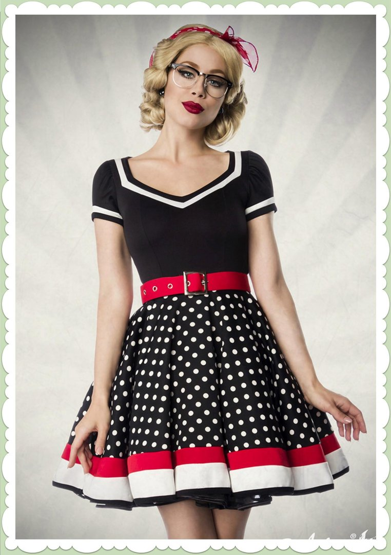 promo code 3c777 afa07 Belsira 50er Jahre Rockabilly Petticoat Kleid - Betty - Schwarz Weiß Rot