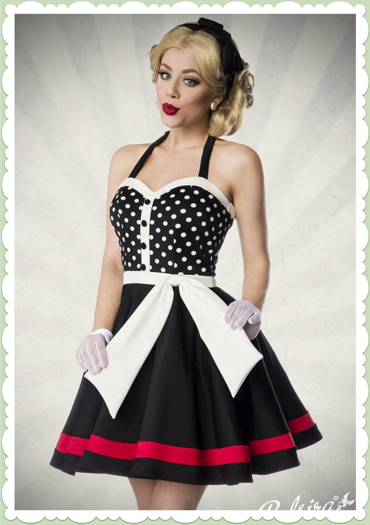 info for 5614f e0528 Belsira 50er Jahre Rockabilly Petticoat Kleid - Betsy - Schwarz Weiß Rot