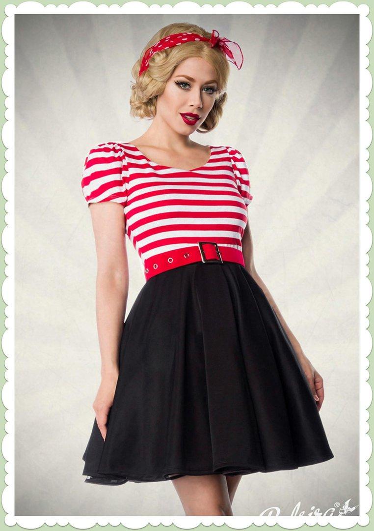 acfc18b84aad Belsira 50er Jahre Rockabilly Petticoat Streifen Kleid -Lucy- Schwarz Rot