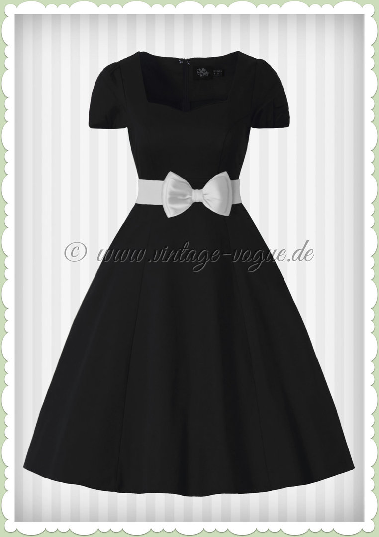 Dolly   Dotty 50er Jahre Rockabilly Petticoat Kleid - Claudia - Schwarz 3eea2b84ba