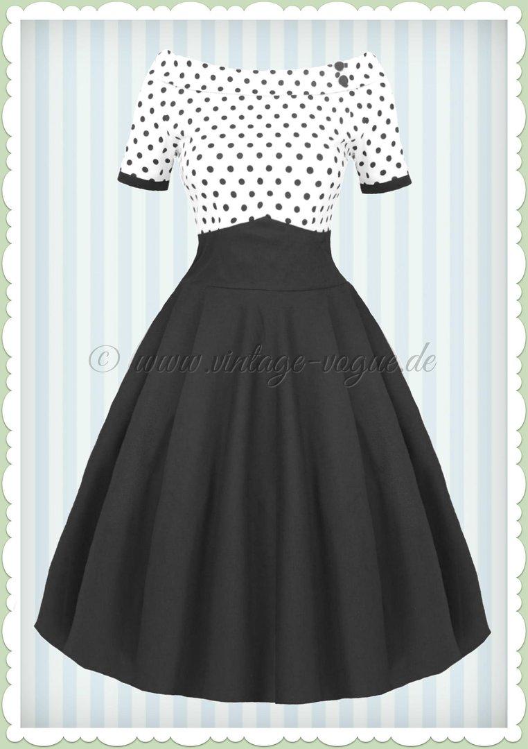 7013d32bbc58fc Dolly & Dotty 50er Jahre Rockabilly Punkte Kleid - Darlene - Weiß Schwarz
