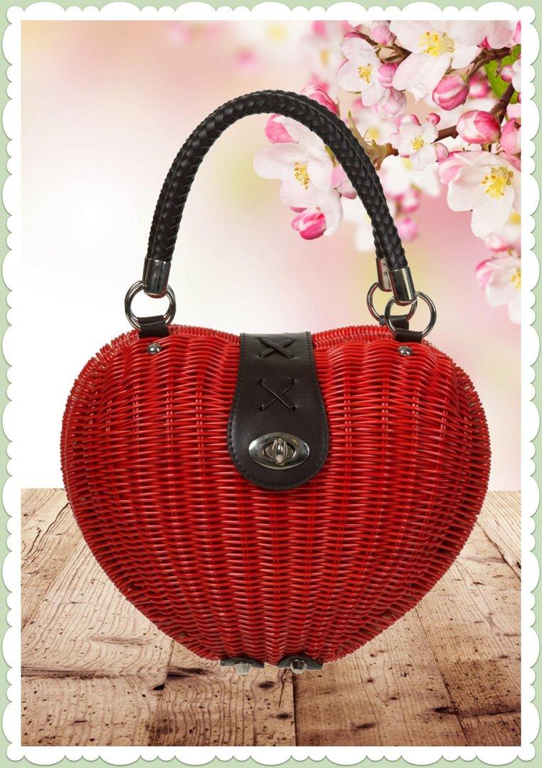 buy popular 21a1e 77dbd Banned 50er Jahre Vintage Herz Rattan Handtasche - Nikki - Braun Rot