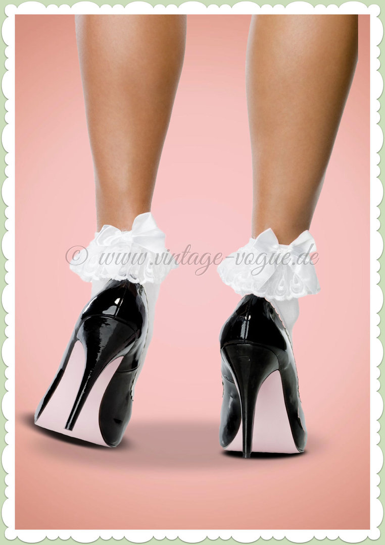 Leg Avenue Socken mit Rüsche & Schleife Bow & Lace Ruffle Weiß