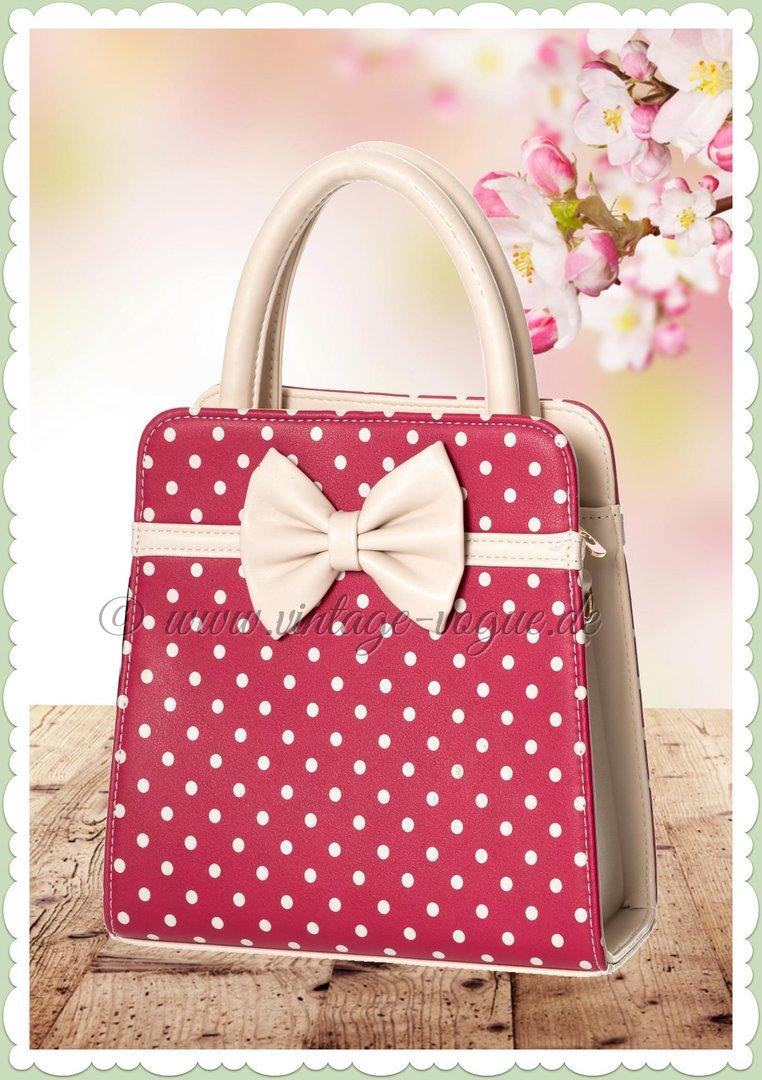 quality design a2c19 19e97 Banned 50er Jahre Vintage Punkte Handtasche - Carla Bag - Rot Creme