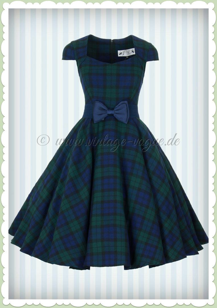 7027e5f419312d Hell Bunny 50er Jahre Vintage Tartan Karo Kleid - Aberdeen - Navy Grün