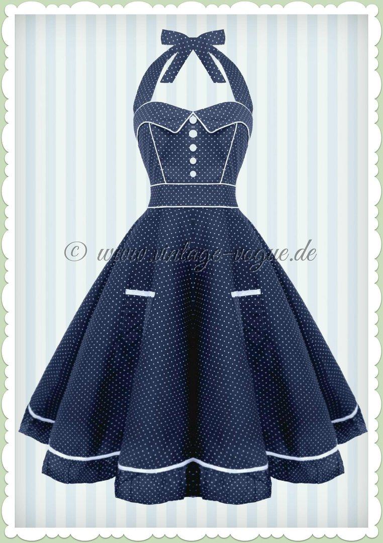 Hell Bunny 50er Jahre Rockabilly Punkte Kleid Vanity Navy Blau Weiss