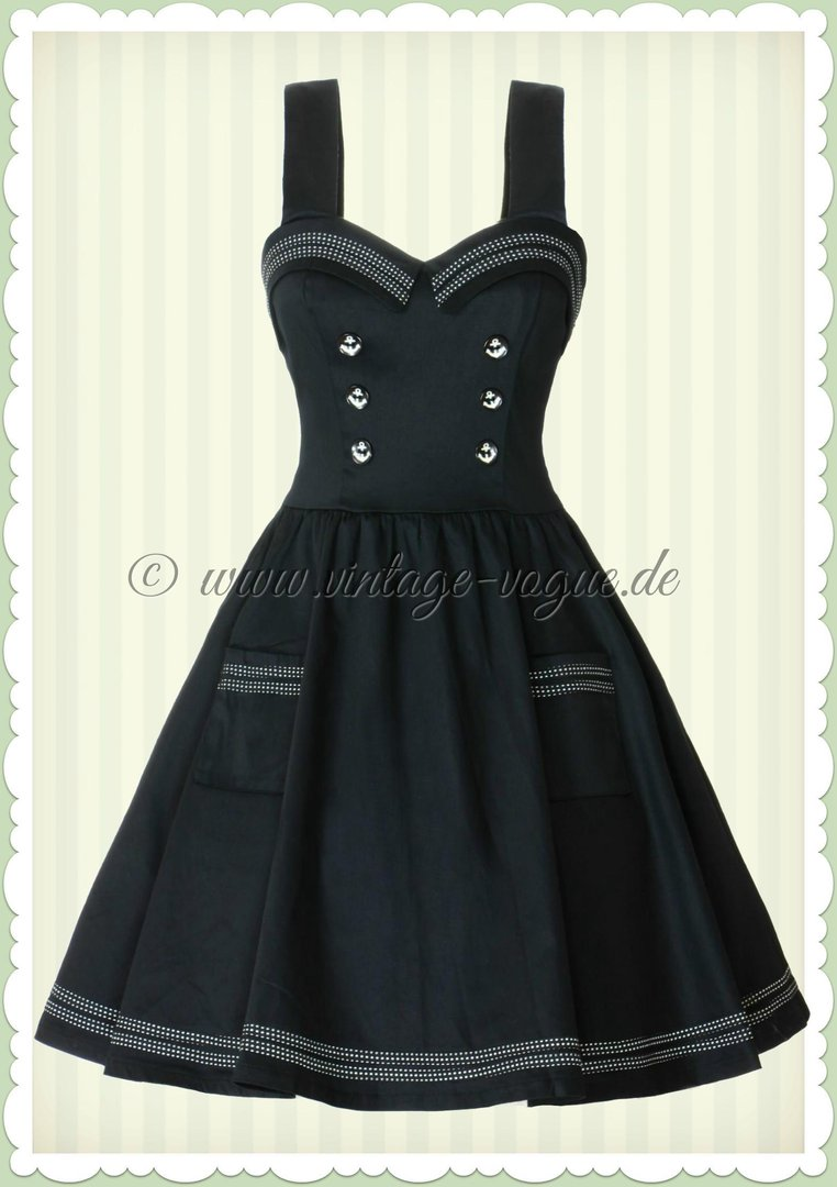 Banned 50er Jahre Pin Up Sailor Mini Kleid - Where to next - Schwarz