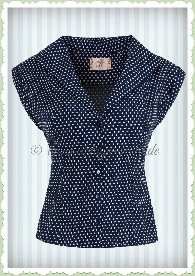 f7cddd279a162d Banned 50er Jahre Vintage Punkte Pin Up Bluse - Lovely - Blau Weiß