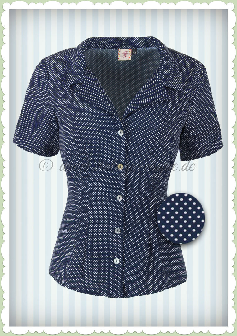 9f52fe5e028984 Banned 50er Jahre Vintage Punkte Pin Up Bluse - Lou Lou - Navy Weiß