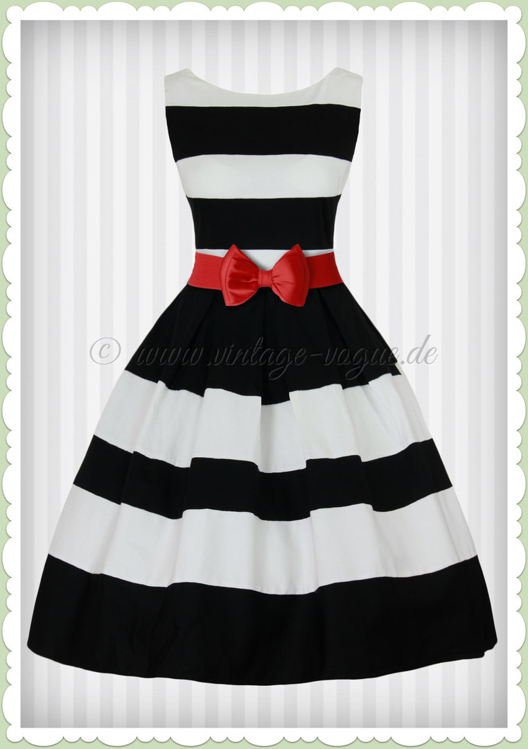 on sale ddc68 839af Dolly & Dotty 50er Jahre Petticoat Streifen Kleid - Aurora - Schwarz Weiß