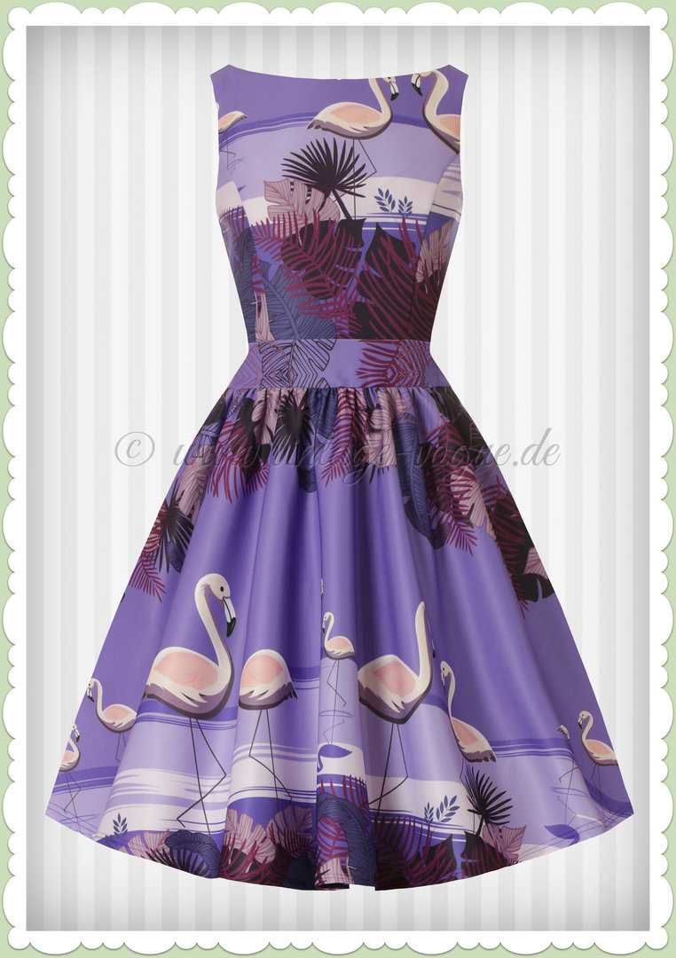 Lady Vintage 40er Jahre Vintage Retro Kleid Flamingo Border Lila