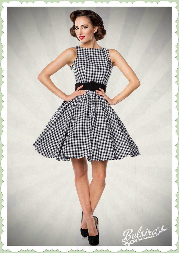 4d16323c6103a7 Belsira 50er Jahre Retro Petticoat Kleid - Gingham Allover - Schwarz Weiß