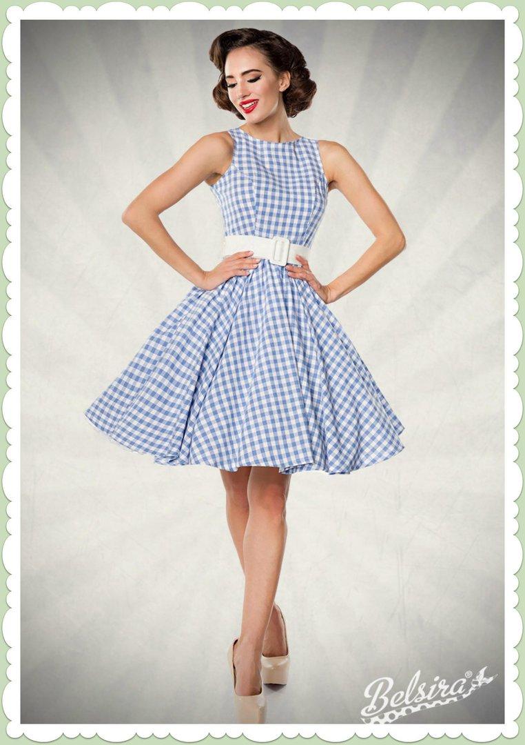 Belsira 50er Jahre Retro Petticoat Kleid Gingham Allover Blau Weiss