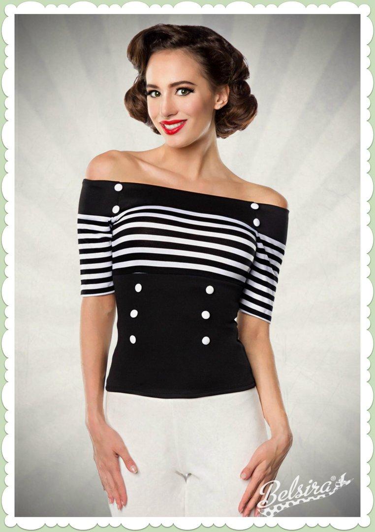 c09d11c29dde Belsira 50er Jahre Rockabilly Streifen Shirt - Stripes - Schwarz Weiß