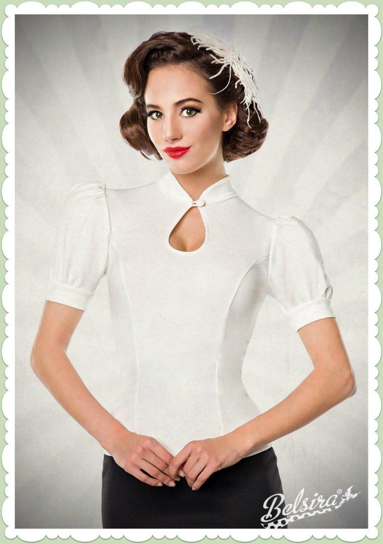 1206fc27e2e35b Belsira 50er Jahre Rockabilly Retro Uni Shirt - Plain - Weiß