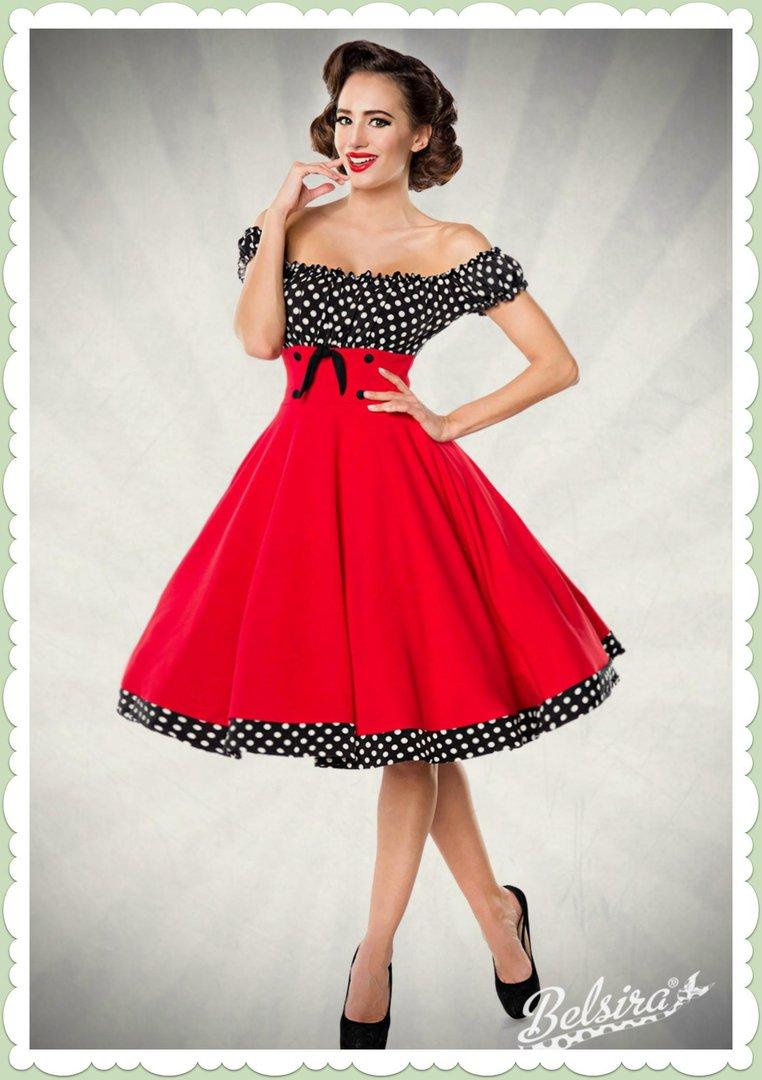 separation shoes 60984 ab27d Belsira 50er Jahre Rockabilly Petticoat Kleid - Claire - Rot Schwarz Weiß