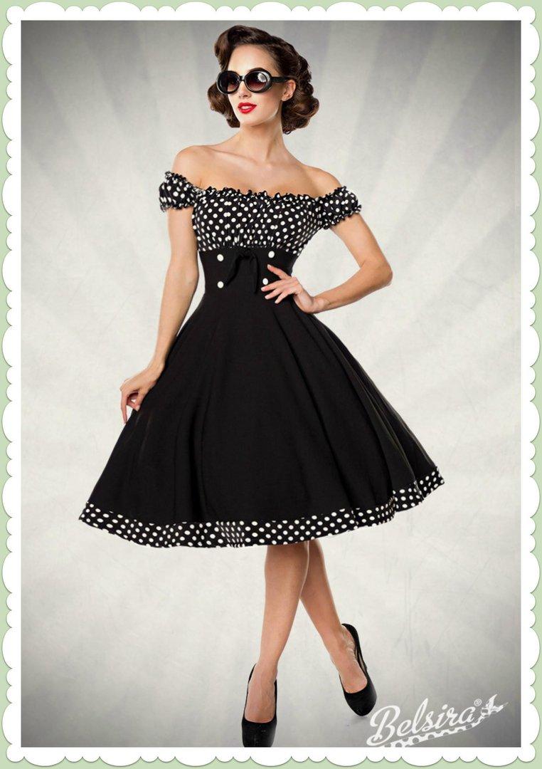 fab79a2fdafd83 Belsira 50er Jahre Rockabilly Petticoat Kleid - Claire - Schwarz Weiß