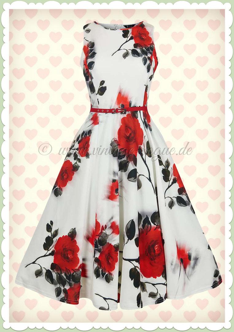 online retailer d3b72 928cf Lady Vintage 40er Jahre Vintage Rosen Kleid - Hepburn - Weiß Rot Schwarz