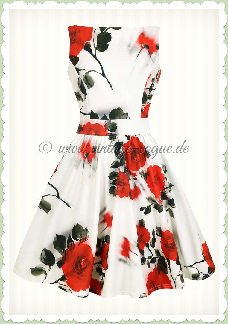 separation shoes a22ae 5d993 Lady Vintage 40er Jahre Vintage Rosen Kleid - Tea Dress - Weiß Rot Schwarz