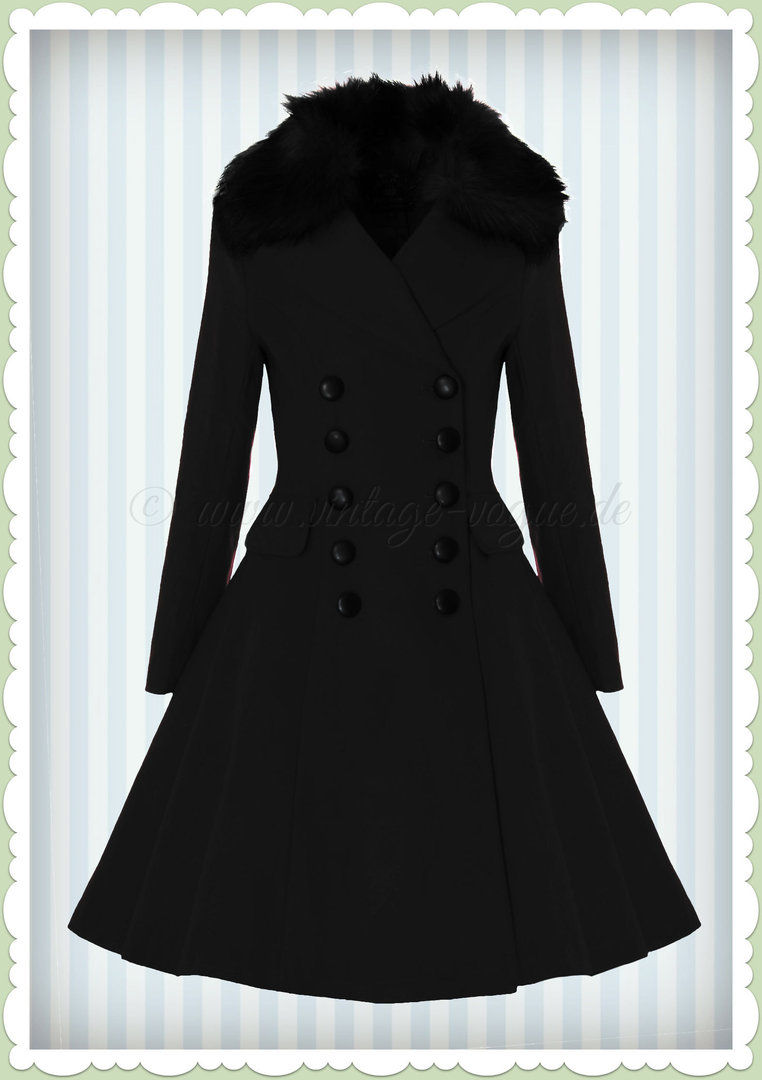 großer Rabatt guter Verkauf klare Textur Hell Bunny 50er Jahre Vintage Retro Winter Mantel - Milan - Schwarz