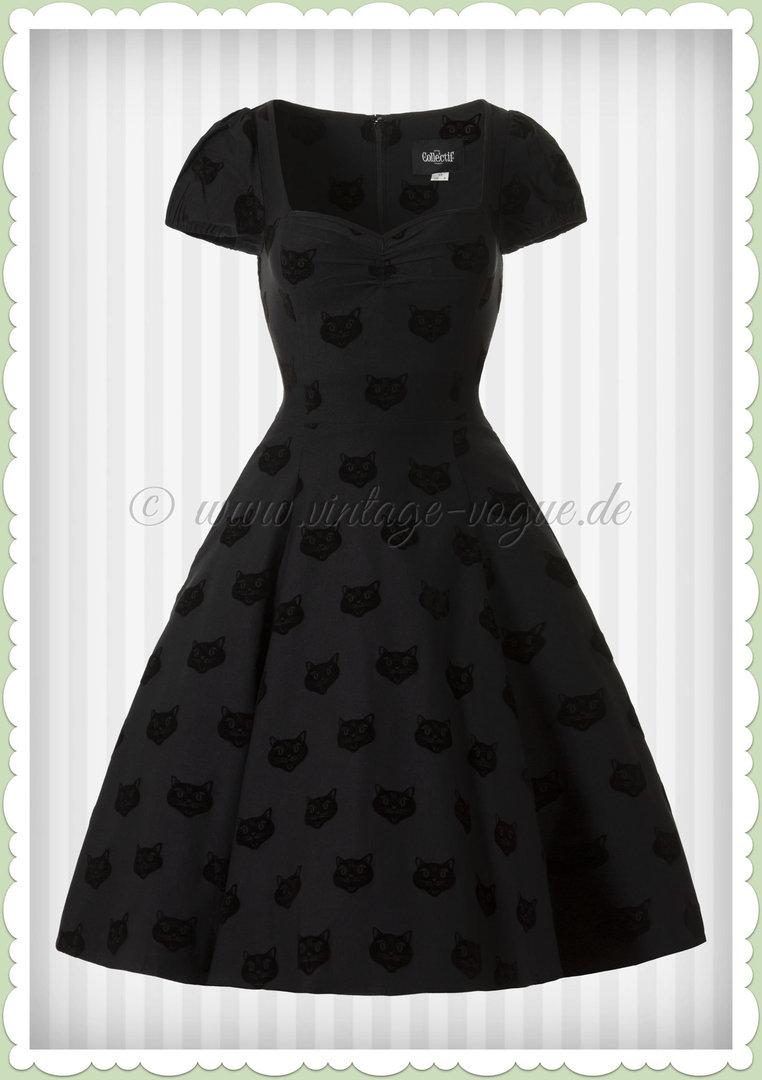6a4c05844b6c Collectif 40er Jahre Vintage Retro Katzen Kleid - Mimi Velvet Cat - Schwarz