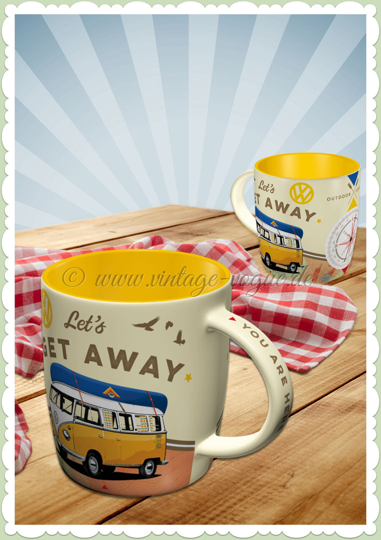 nostalgic art retro vw bulli tasse let s get away. Black Bedroom Furniture Sets. Home Design Ideas