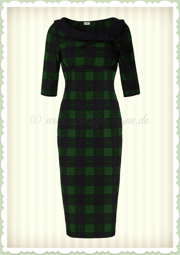 994477856bca36 Banned 50er Jahre Retro Tartan Pencil Kleid - Take Me To Paris - Navy Grün