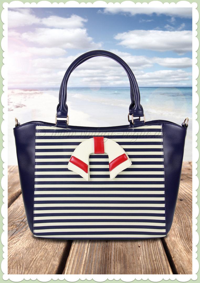 Banned 50er Jahre Retro Streifen Handtasche Vintage Nautical Bag Blau