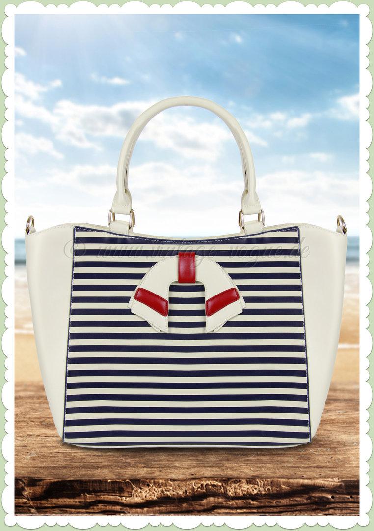 Banned 50er Jahre Retro Streifen Handtasche Vintage Nautical Bag Weiß