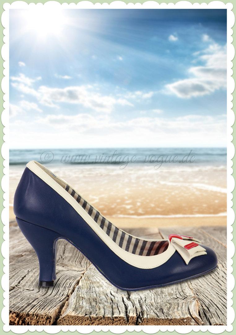 Banned 50er Jahre Maritime Retro Schuhe Pumps Sparkle Falls Blau