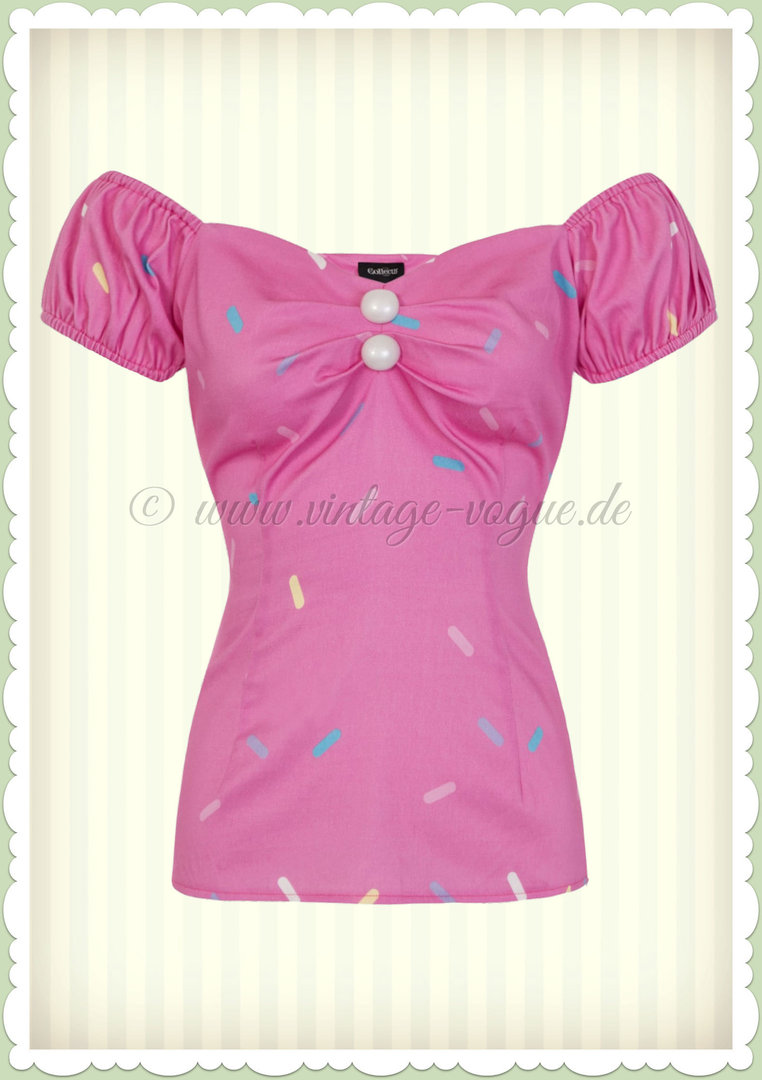 ab8f732c18aa Collectif 50er Jahre Pin Up Retro Vintage Top Shirt - Dolores - Pink