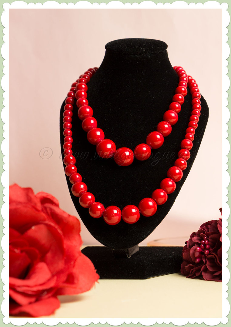 3447b2915d77 Collectif 50er Jahre Retro Rockabilly Perlen Halskette - Beaded - Rot
