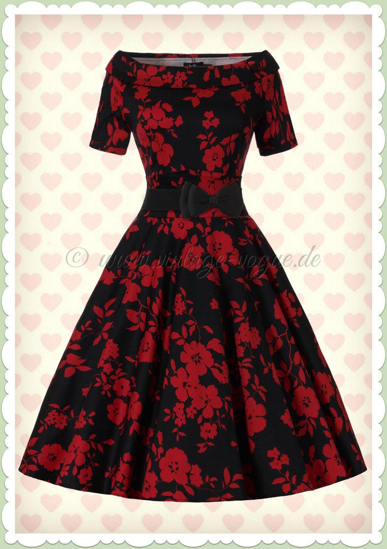 50s rockabilly Rosen SWING Spitzen Kleid Petticoatkleid schwarz