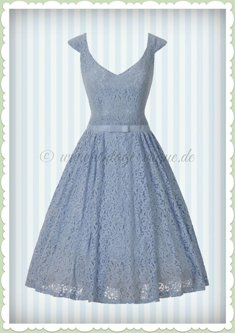 Lieblings Banned 40er Jahre Vintage Retro Spitzen Kleid - Love Lace - Hell Blau #HE_09