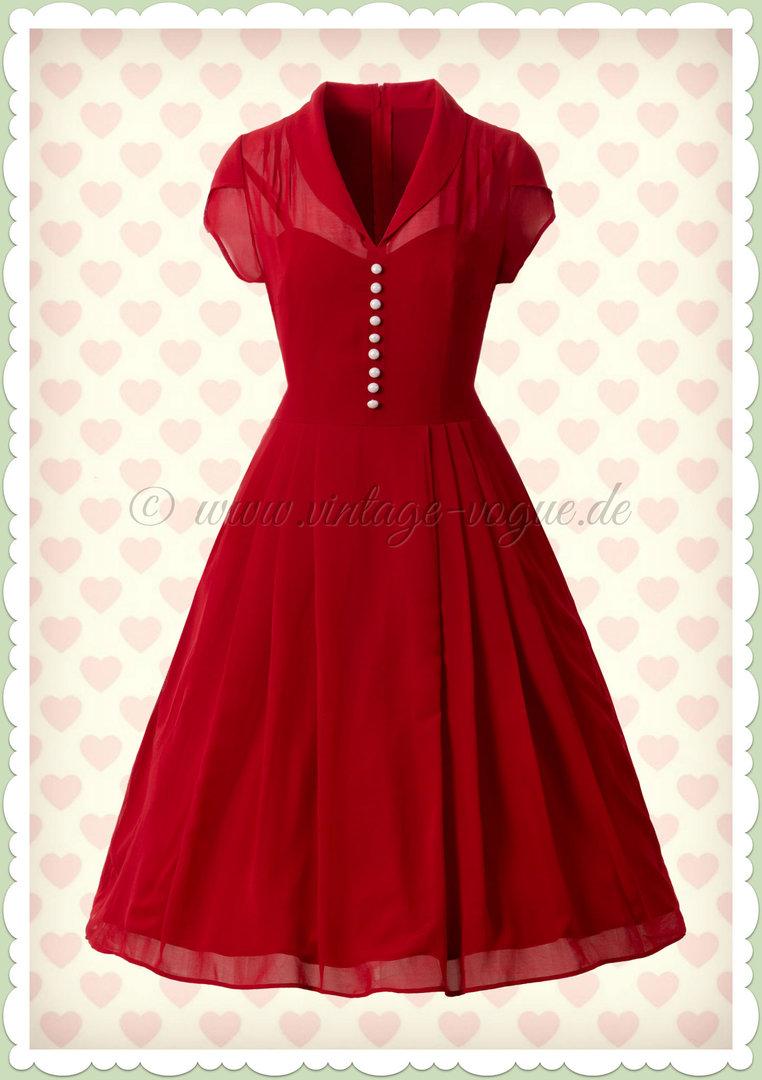 Hell Bunny 40er Jahre Retro Vintage Kleid - Paige - Rot 7f9489f873