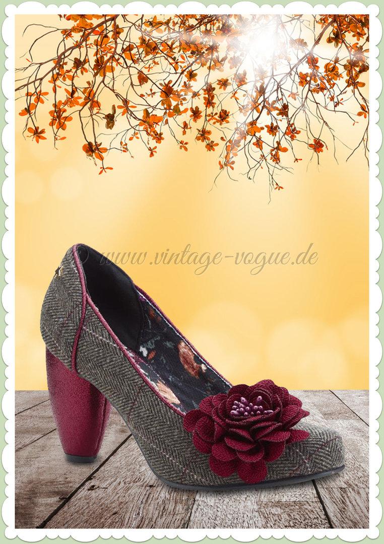 c0c36c476b3218 Joe Browns 40er Jahre Retro Vintage Floral Schuhe Pumps - Truly - Braun