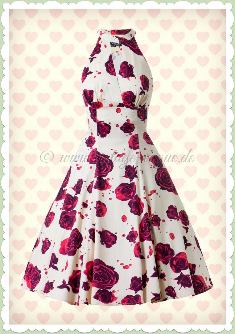 50er Creme Retro Lucinda Kleid Rose Heartsamp Jahre Petticoat Weiß P0OkNwX8n
