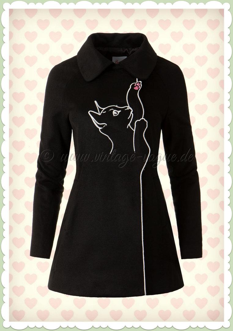 online store a5151 e8887 Banned 40er Jahre Vintage Retro Katzen Jacke Mantel - Cat Coat - Schwarz