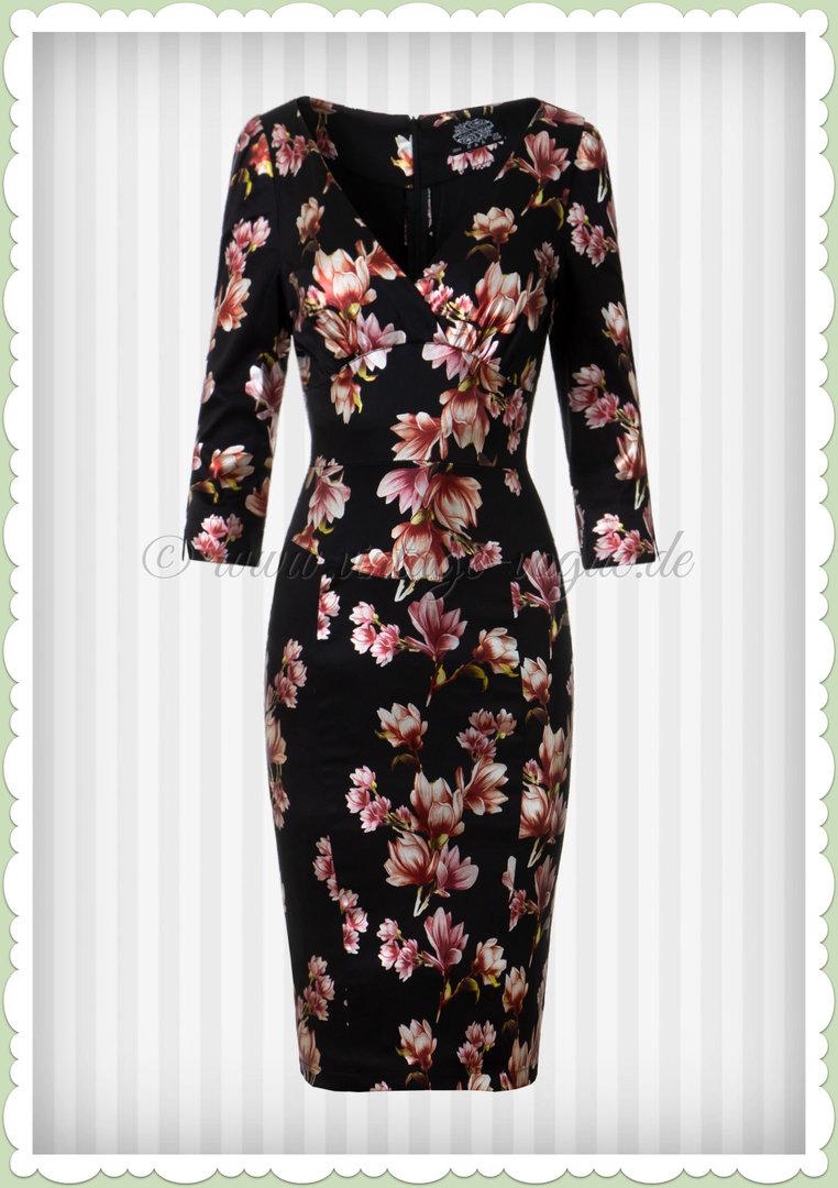 Romantisches Kleid in Wickeloptik beige geblümt Gr 40