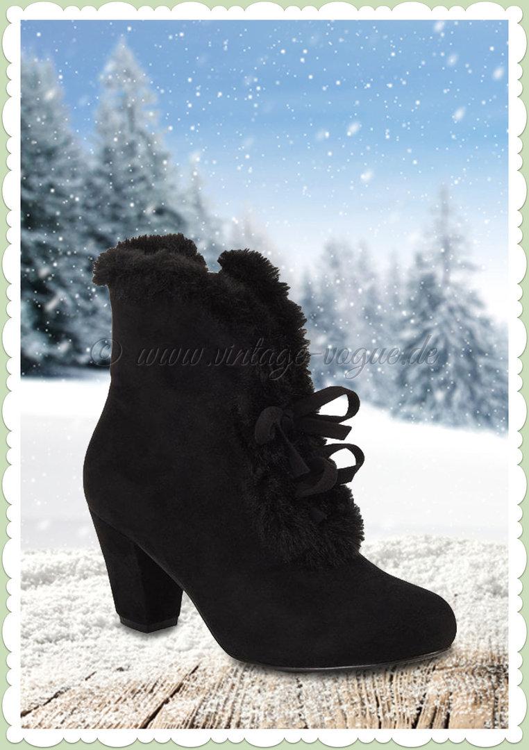 Tatiana Fur Collectif Jahre Vintage Ankle Boot Stiefelette 50er Schwarz ZOkuXiPT