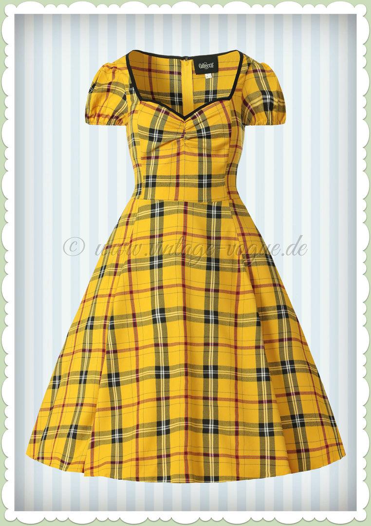 newest 2bb08 55611 Collectif 40er Jahre Vintage Tartan Karo Kleid - Mimi - Gelb Schwarz