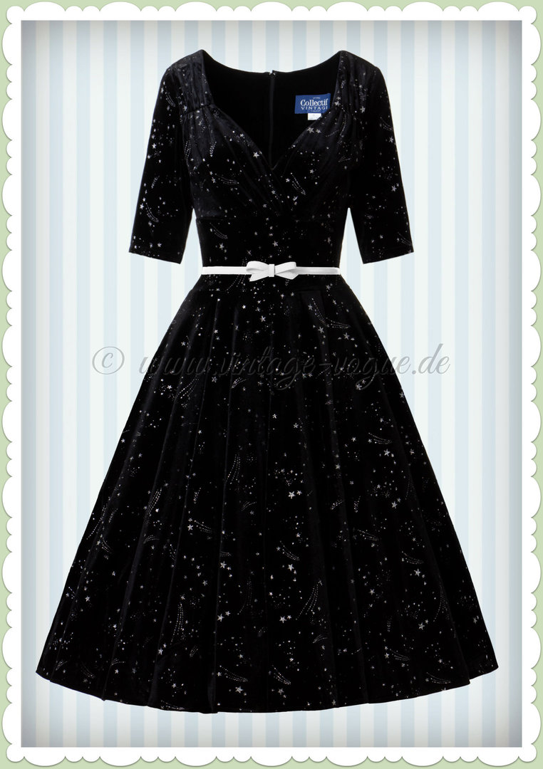 24dbc415047b5a Collectif 40er Jahre Pin-Up Swing Kleid - Trixie Make A Wish Doll - Schwarz