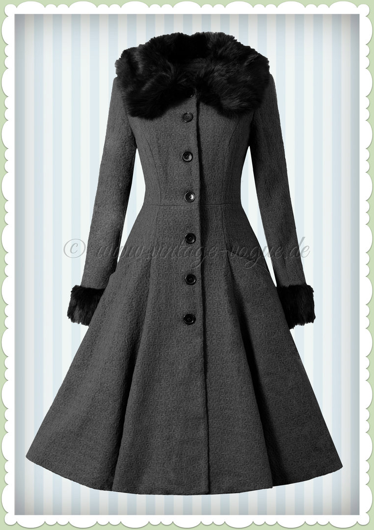 new styles 3358f 5d675 Collectif 50er Jahre Vintage Rockabilly Winter Mantel - Alise - Grau